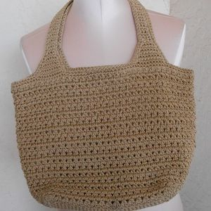 The Sak Handbag Purse Tan Crochet